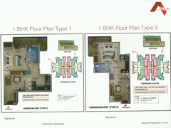 Floor Plan of Amolik Affordable Flats in Faridabad - 1 Bhk Type 1 and 2