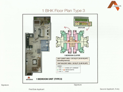 Floor Plan of Amolik Affordable Flats in Faridabad - 1 Bhk Type 3