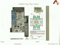 Floor Plan of Amolik Affordable Flats in Faridabad - 2 Bhk Type 1