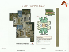 Floor Plan of Amolik Affordable Flats in Faridabad - 3 Bhk Type 1