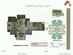 Floor Plan of Amolik Affordable Flats in Faridabad - 3 Bhk Type 2